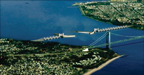 Conceptual design of a storm surge barrier in NYC. (Source: Aerts et. al. 2009)