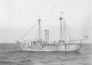 U.S. Coast Guard Lightship LV-87, probably the lightship to which Dr. Rusby refers in his diary entry of June 21. The Ambrose Channel is the main shipping channel into New York Harbor and lightships like this one were used to assist in navigation. In May of 1921, less than one month before Rusby's expedition was delayed near this ship, LV-87 was the first in the United States to have a radio beacon installed, further assisting those ships entering and leaving the harbor.