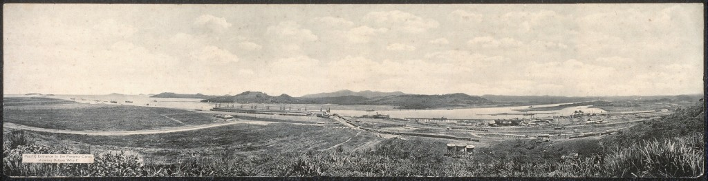 Pacific entrance to the Panama Canal, showing Balboa Wharf. From the Library of Congress