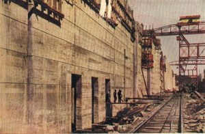 One of the locks of the Panama Canal, under construction in 1913, eight years before the Mulford Expedition.