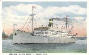 Grace Line postcard of the Santa Elisa. (Scanned by Rogerio Gouveia)