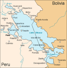 A map of Lake Titicaca, with Pumo, Peru, on the western shore.