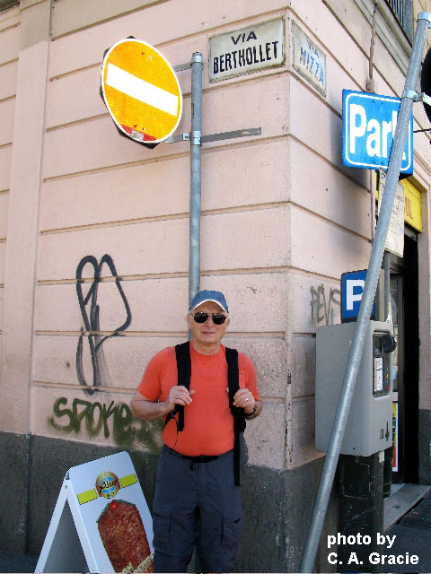 The author in Torino, Italy, standing under a sign dedicated to the chemist Bertholletia after whom the Brazil nut (Bertholletia excelsa) was named.