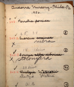 The original hand-written accession record from accession book #29