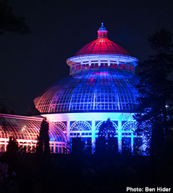 Enid Haupt Conservatory lights at night Holiday Train Show