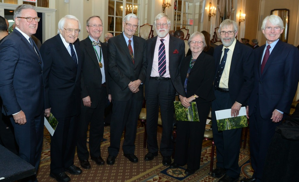 Left to Right: Gregory Long, Lewis Cullman, Thomas E. Lovejoy, Ph.D., E.O. Wilson, Ph.D., Sir Ghillean Prance FRS VMH, Patricia Holmgren, Ph.D., Noel Holmgren, Ph.D., and Ed Bass at the 123rd Annual Meeting.