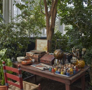 An evocation of Kahlo's studio in the Haupt Conservatory.