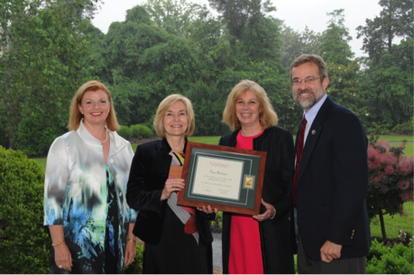 Flanked by Jane Diamantis, Chair of the Awards Committee, and Tom Underwood, Executive Director of the American Horticultural Society, editors Susan Fraser and Vanessa Sellers proudly display the book award for Flora Illustrata during the June 4th Award Ceremony at River Farm, AHS headquarters in Alexandria, VA.