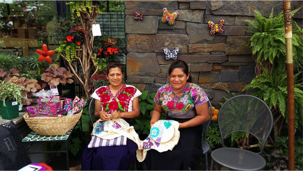 Juana and Yolanda, our visiting Mexican artisans, delighted the public with their artistic weaving and embroidery techniques.