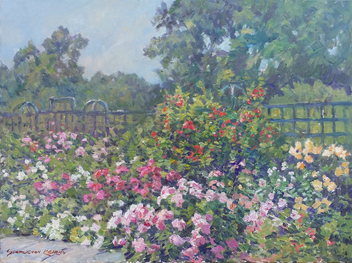 "Stapleton Kearns, ""The Rose Garden"", Oil on linen, 18""x24"""