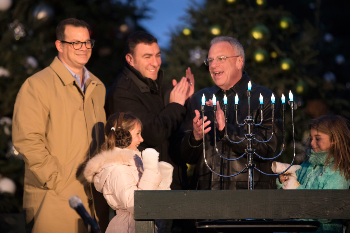 Assemblyman Jeffrey Dinowitz and New York City Councilmember Andrew Cohen with family members