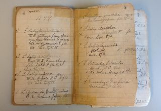 A photo of NYBG's first accession log,