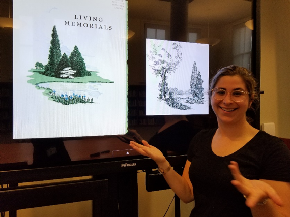 Rebecca Pollack shows examples of artwork illustrating memorial gardens