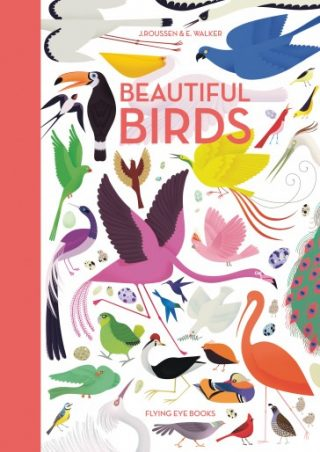 """The cover of """"Beautiful Birds"""", showing a variety of bird species."""