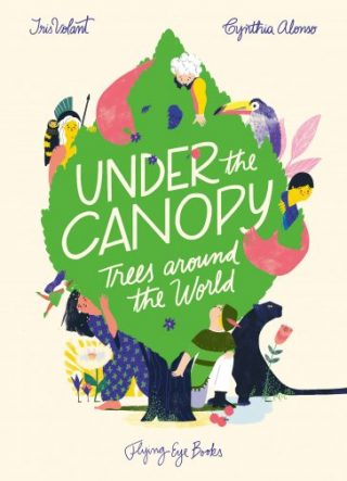 """The cover for """"Under the Canopy"""", featuring an illustration of people and animals in and around a tree."""