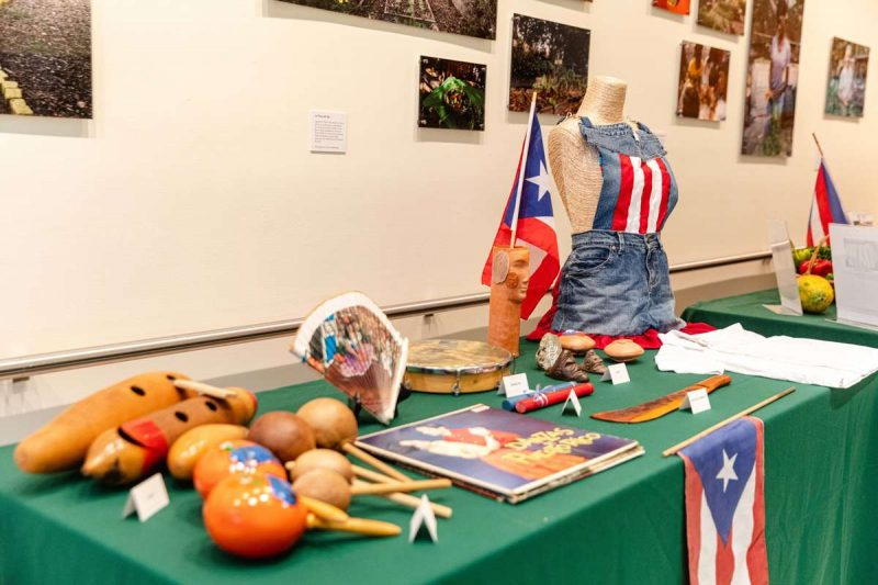 Photo of Puerto Rican attire and instruments