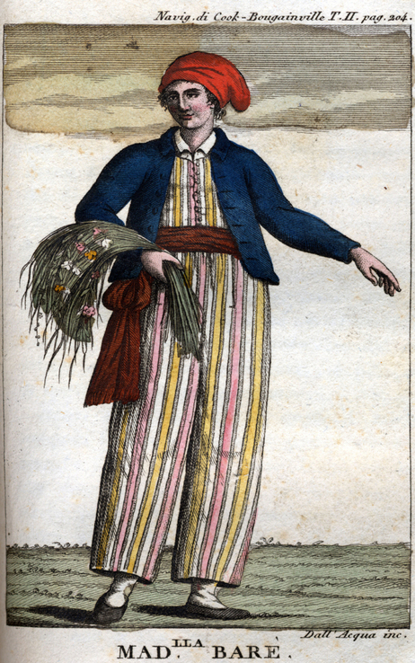 An engraving of Jeanne Baret which portrays her in loose-fitting clothing. (Credit: Leemage/Getty Images/Universal Images Gr.)