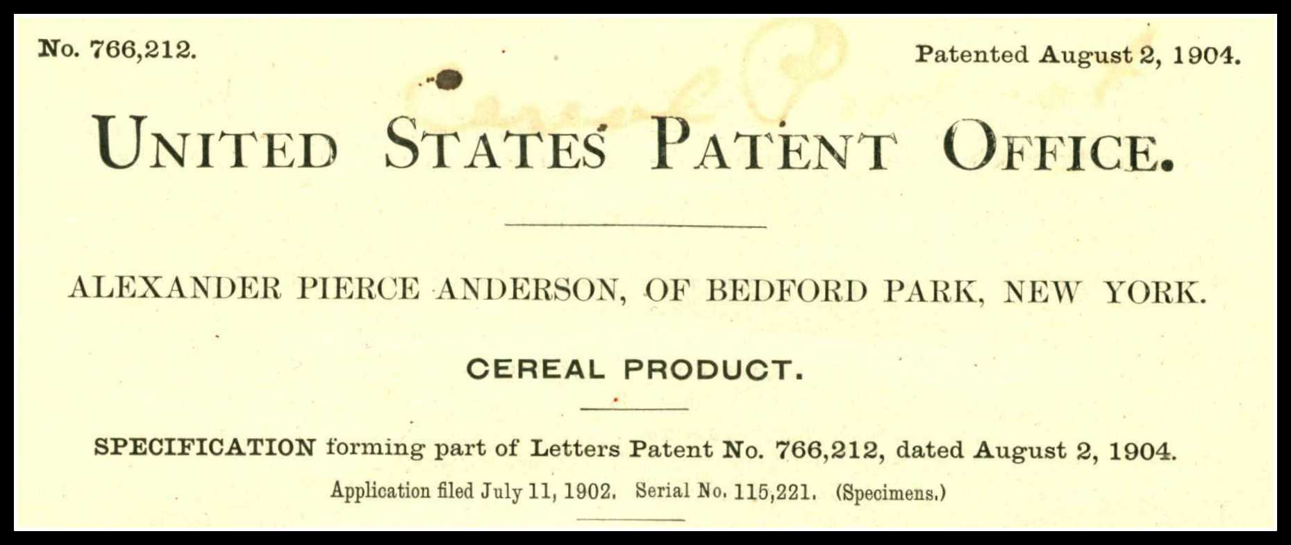 "The heading from Anderson's ""cereal product"" patent."