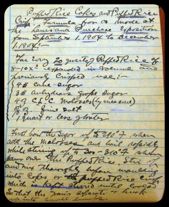 From one of his numerous laboratory notebooks, a sweet puffed rice recipe created by Alexander P. Anderson for the 1904 St. Louis World's Fair/Louisiana Purchase Exposition.