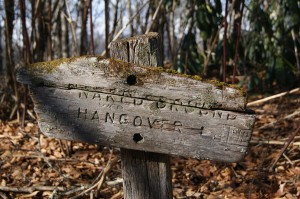 Trail sign for Hangover Mountain