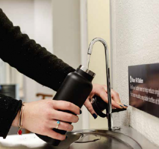 Photo of a water fill station in use