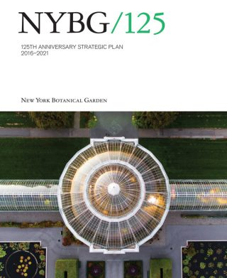 Photo of the cover of the 125th Anniversary NYBG Strategic Plan