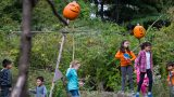 Children play around several pumpkin scarecrows.