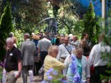 Group of people walking in the Conservatory for an exhibition