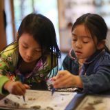 Children working on a craft.