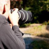 Close up of a photographer working at the Native Plant Garden.
