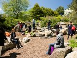 People on the rocks in the children's garden