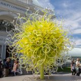 Chihuly Sol del Citron with people standing around it.