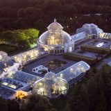 Evening photo of the Haupt Conservatory by air