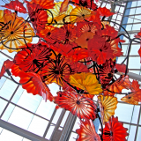 Orange and red Chandeliers by Chihuly.
