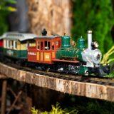 Photo of a model train crossing a bridge