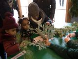 Children learning about pine trees in the Everett Children's Adventure Garden.
