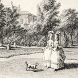 An illustration of two women and a dog walking in Monceau's garden from Flora Illustrata.
