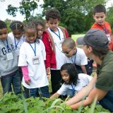 An NYBG staff member teaching several young boys and girls about gardening.