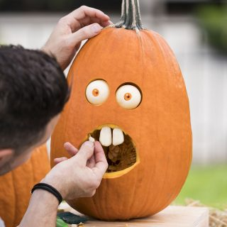 Photo of a pumpkin carving demonstration