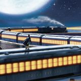 A still from The Polar Express with a boy on top of a train.