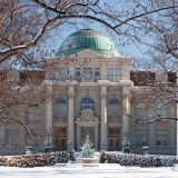 The front of the library building in Winter