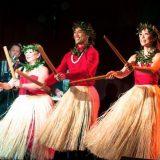 Hawaiian hula performers.