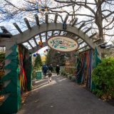 Children running through the entrance gate of Everett Children Adventure Garden in the fall