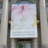 Photo of a sign for the Georgia O'Keeffe, Visions of Hawai'i exhibit
