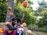 Family in the Spooky Pumpkin Garden