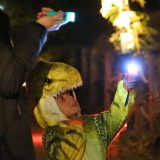 A child in a dinosaur costume holding up a flashlight.