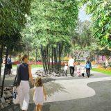 Image of families walking through Burle Marx's Fountain Garden