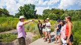 Brian Sullivan teaching Intensive students in the Native Plant Garden