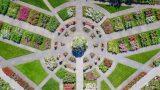 An aerial shot of the Rose Garden.