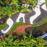 An aerial view of the patterned path and curvilinear planting beds in the Modernist Garden